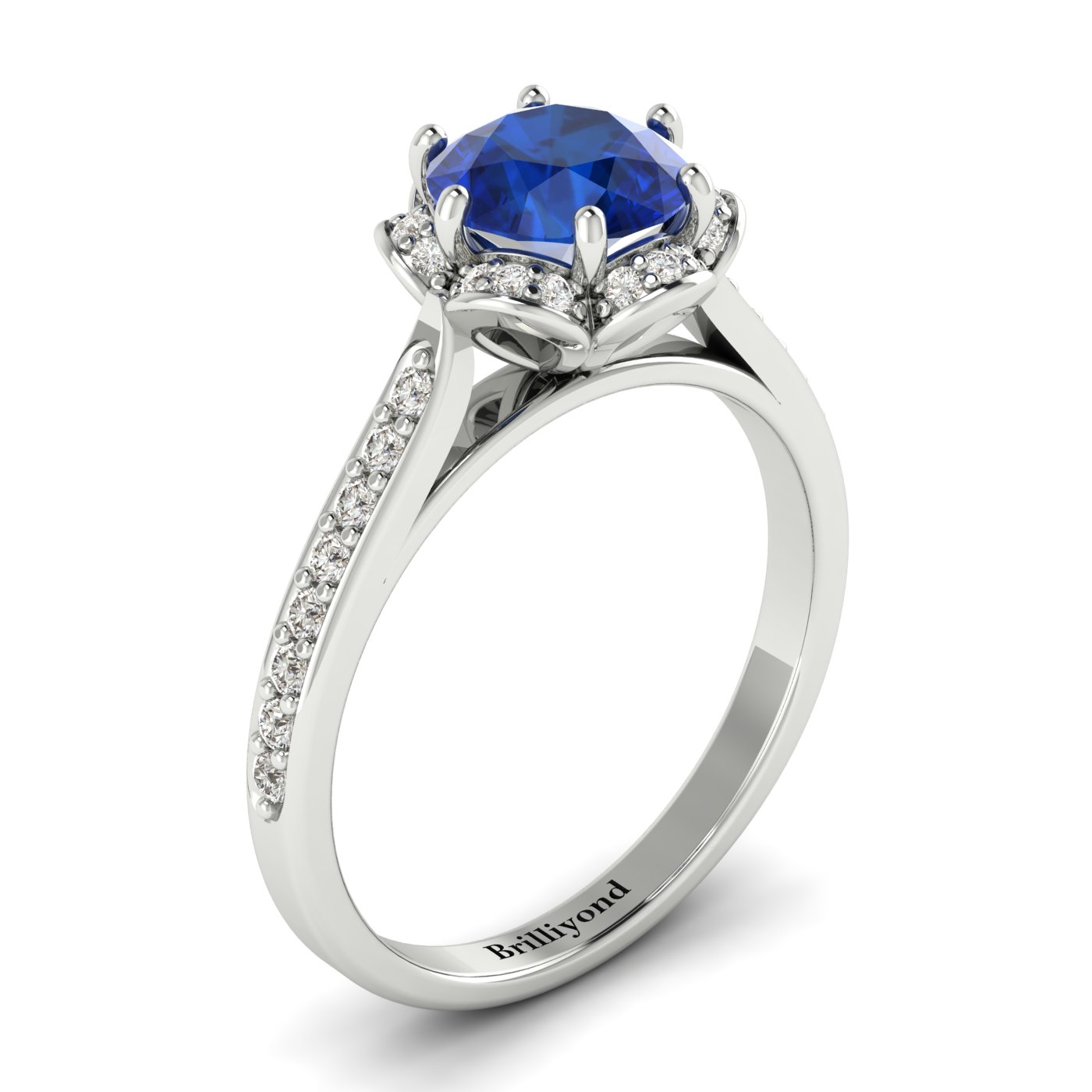 Blue Sapphire White Gold Brilliant Cut Engagement Ring Rosebud_image2