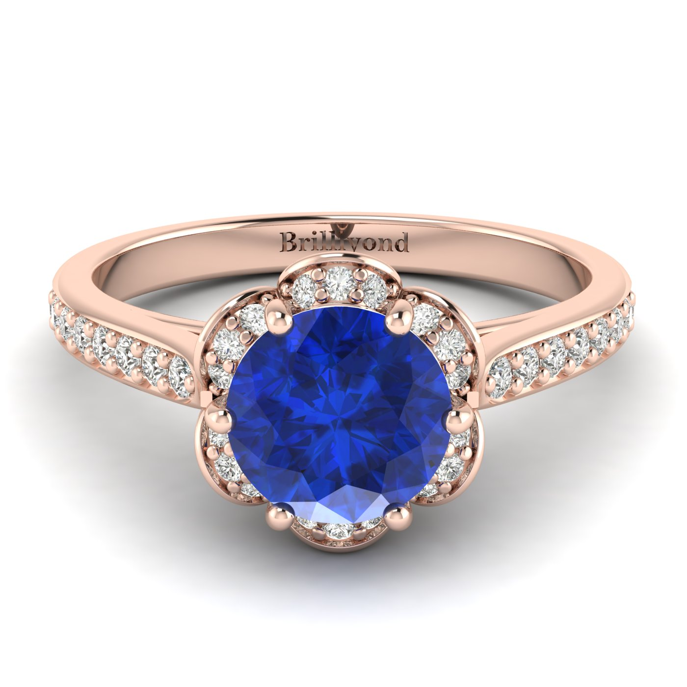 Blue Sapphire Rose Gold Brilliant Cut Engagement Ring Rosebud_image2