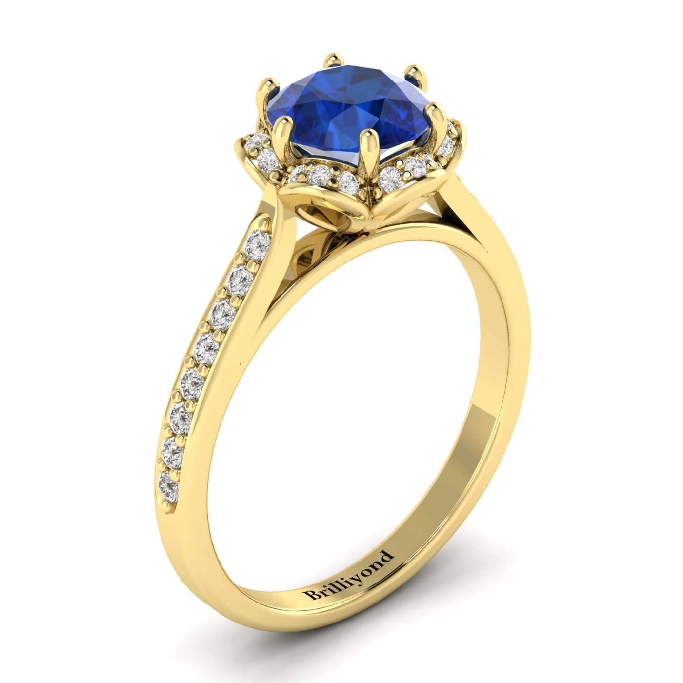 Blue Sapphire Yellow Gold Brilliant Cut Engagement Ring Rosebud