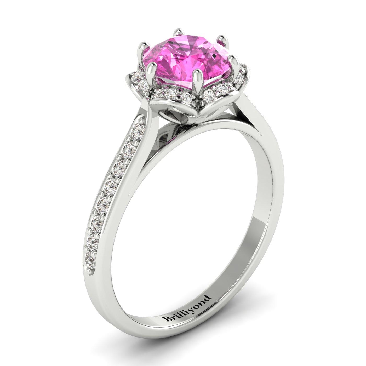 Pink Sapphire White Gold Brilliant Cut Engagement Ring Rosebud_image1