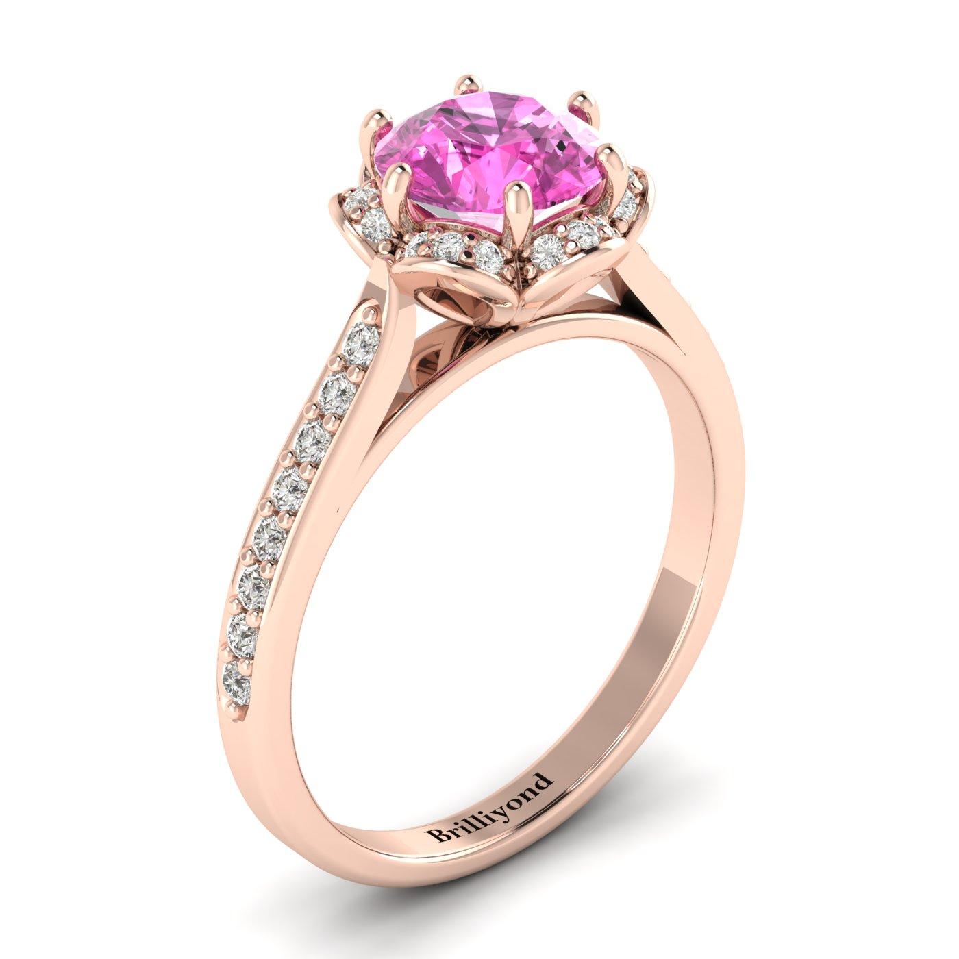 Pink Sapphire Rose Gold Brilliant Cut Engagement Ring Rosebud