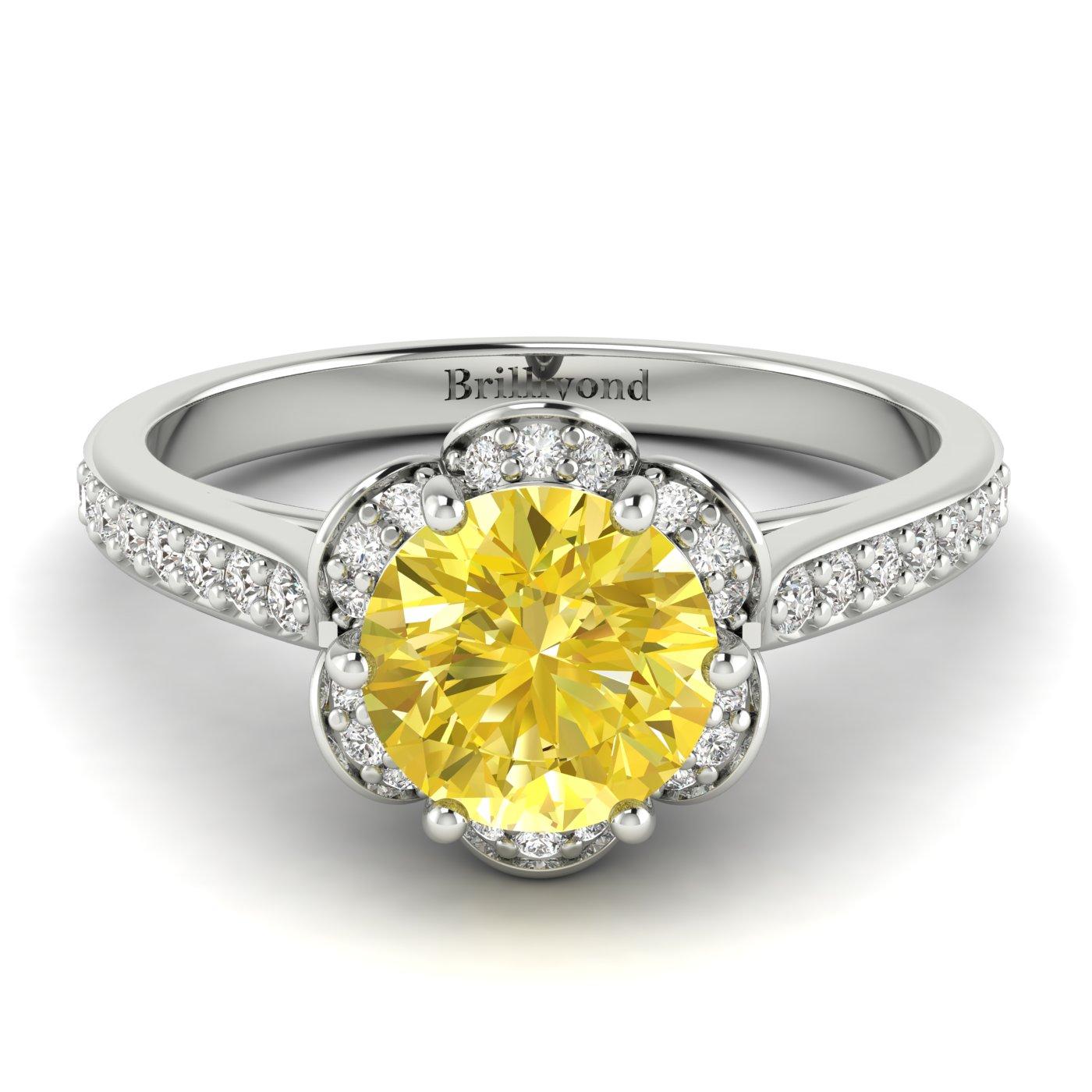 Yellow Sapphire White Gold Brilliant Cut Engagement Ring Rosebud_image1