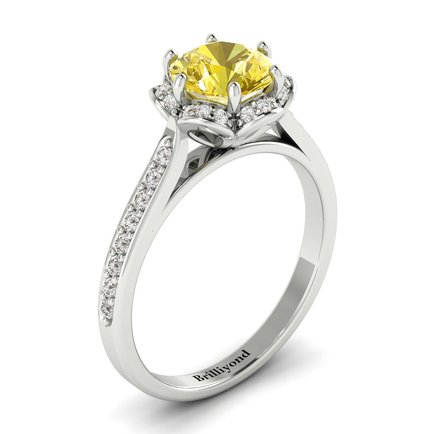 Yellow Sapphire White Gold Brilliant Cut Engagement Ring Rosebud_image2