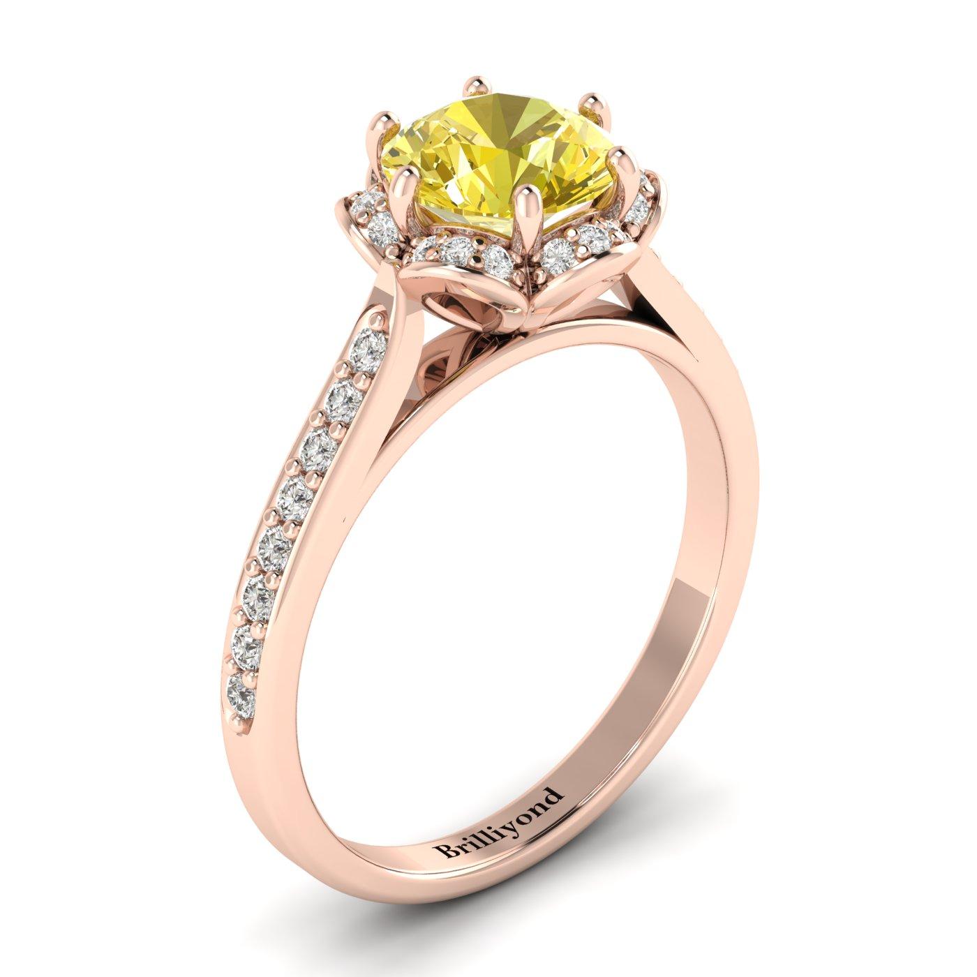 Yellow Sapphire Rose Gold Brilliant Cut Engagement Ring Rosebud