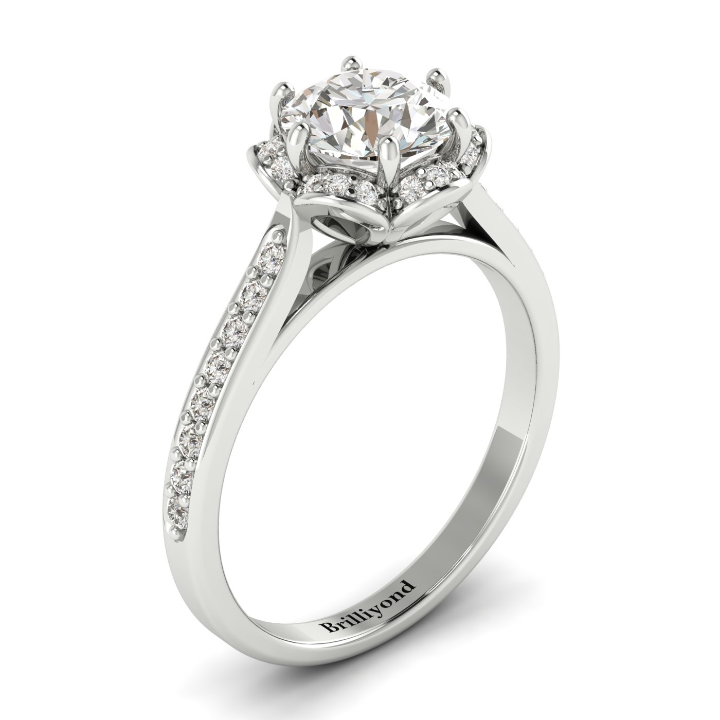 White Sapphire White Gold Brilliant Cut Engagement Ring Rosebud_image1