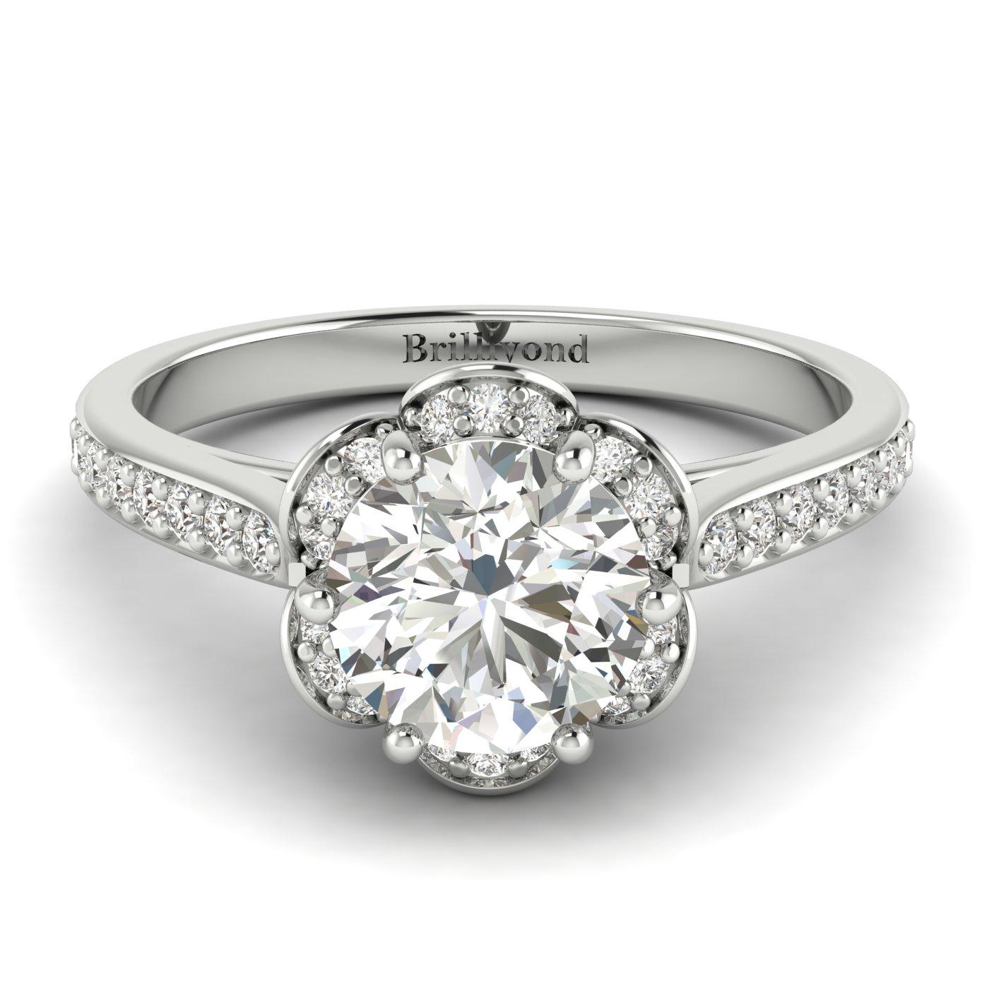 White Sapphire White Gold Brilliant Cut Engagement Ring Rosebud_image2