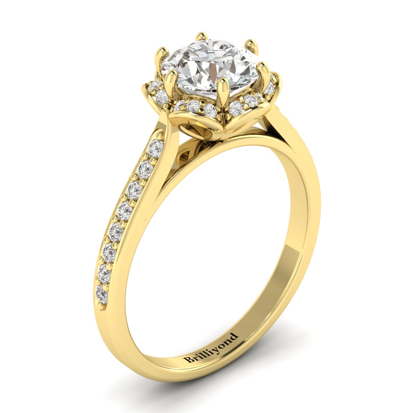 White Sapphire Yellow Gold Brilliant Cut Engagement Ring Rosebud_image1