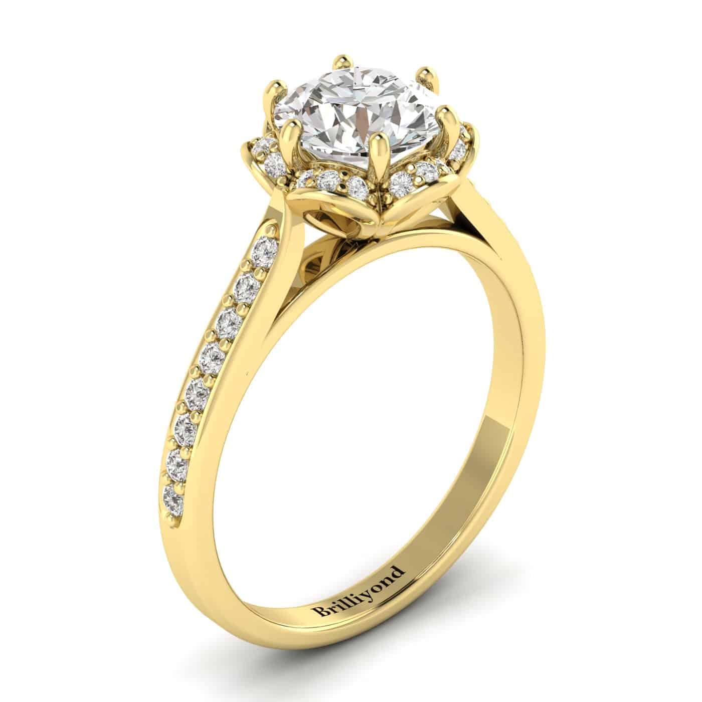 White Sapphire Yellow Gold Brilliant Cut Engagement Ring Rosebud