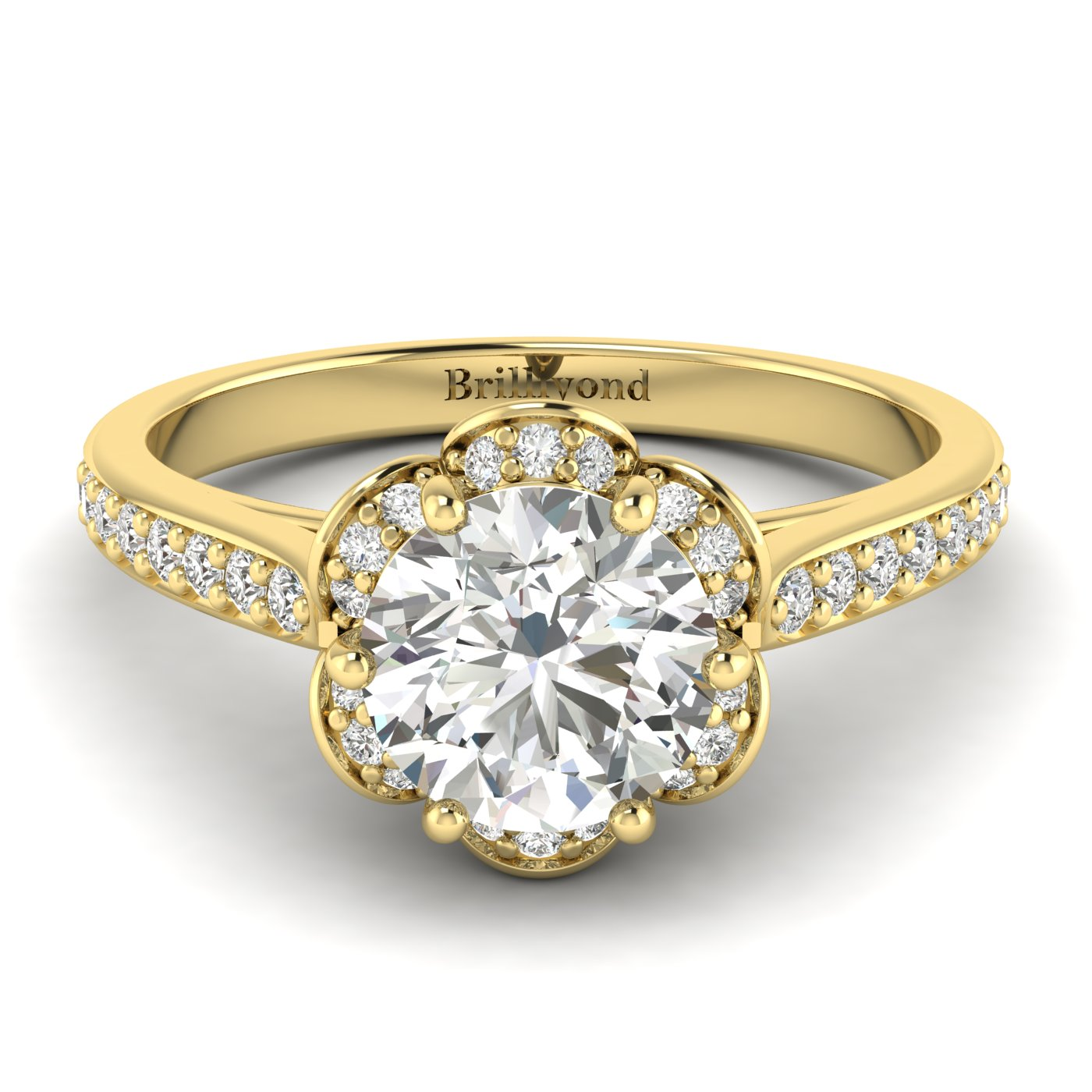 White Sapphire Yellow Gold Brilliant Cut Engagement Ring Rosebud_image2