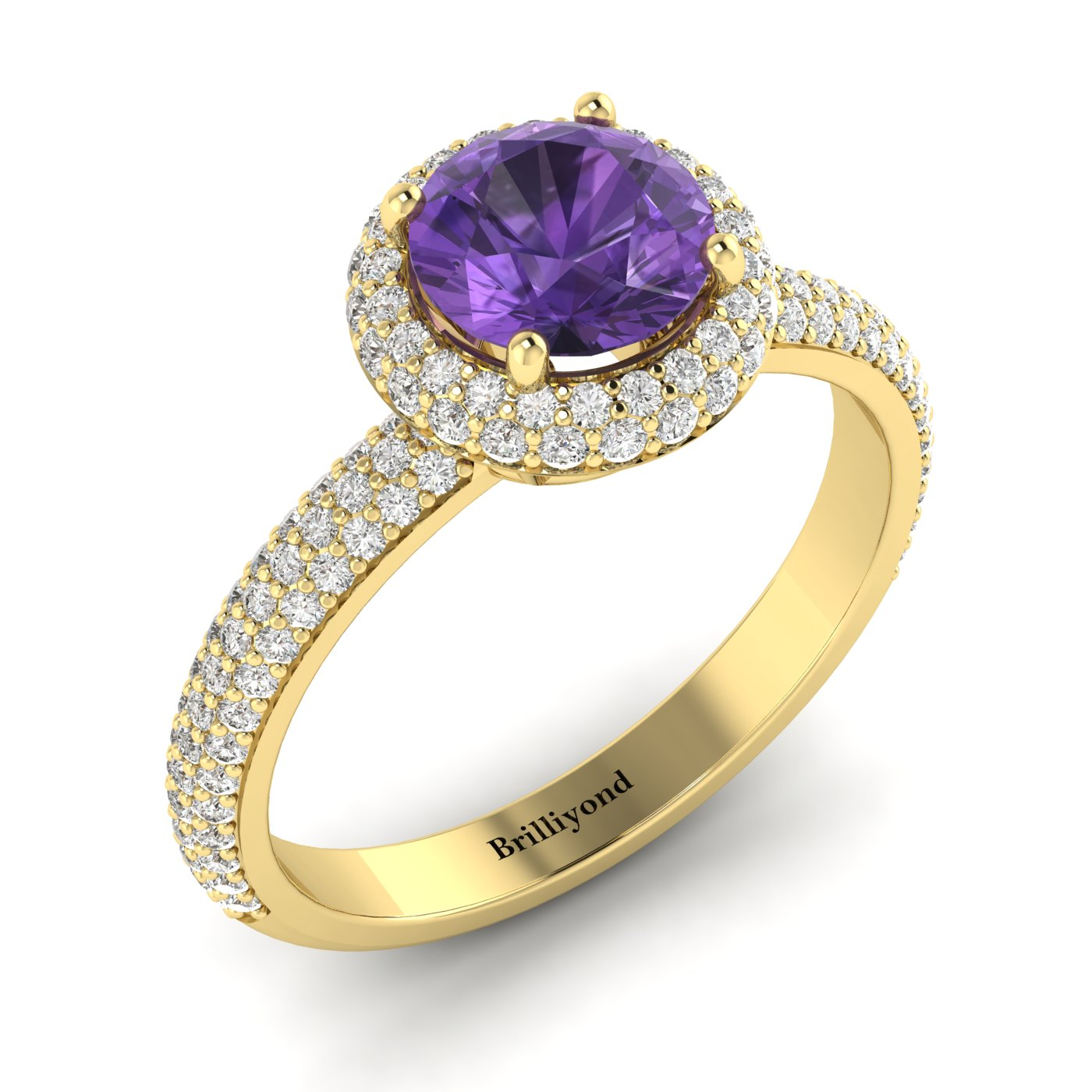Amethyst Yellow Gold Halo Engagement Ring Whirlpool_image1