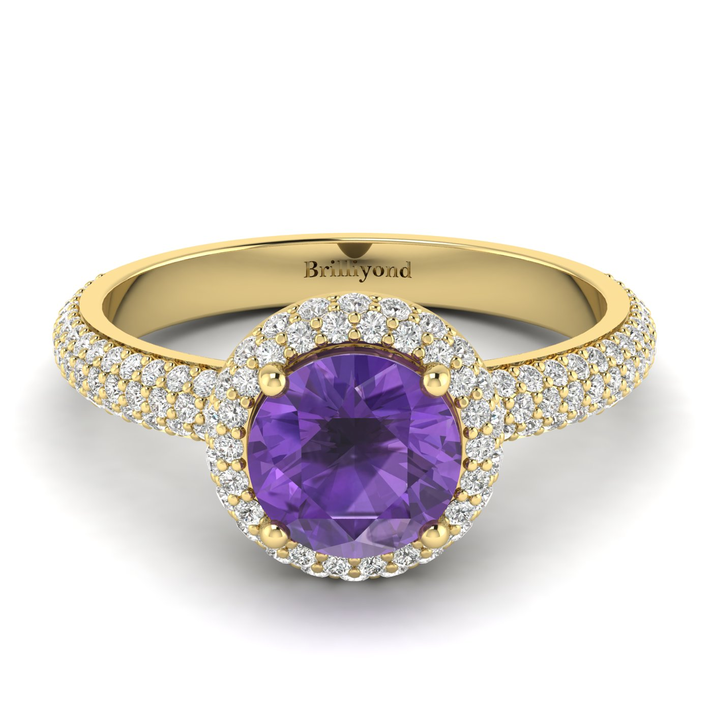 Amethyst Yellow Gold Halo Engagement Ring Whirlpool_image2
