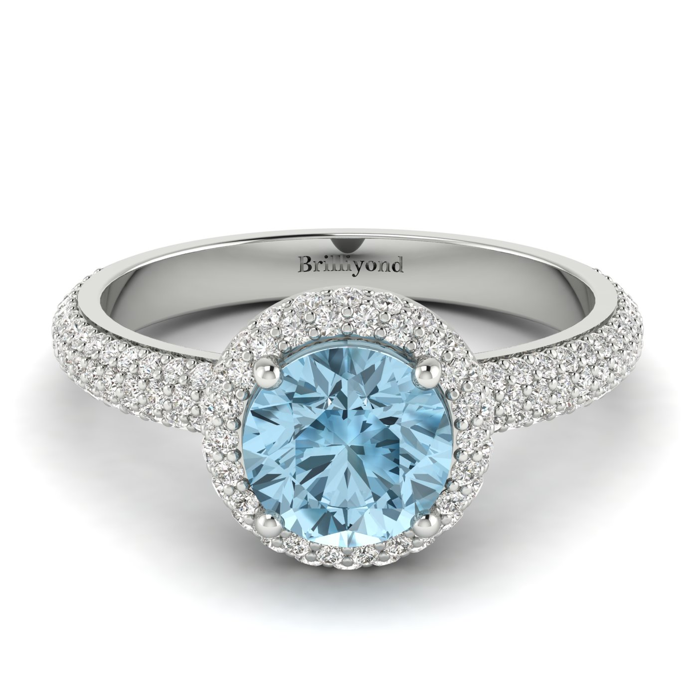 6.5mm Aquamarine with 122 Accent Diamonds on 18k White Gold Band