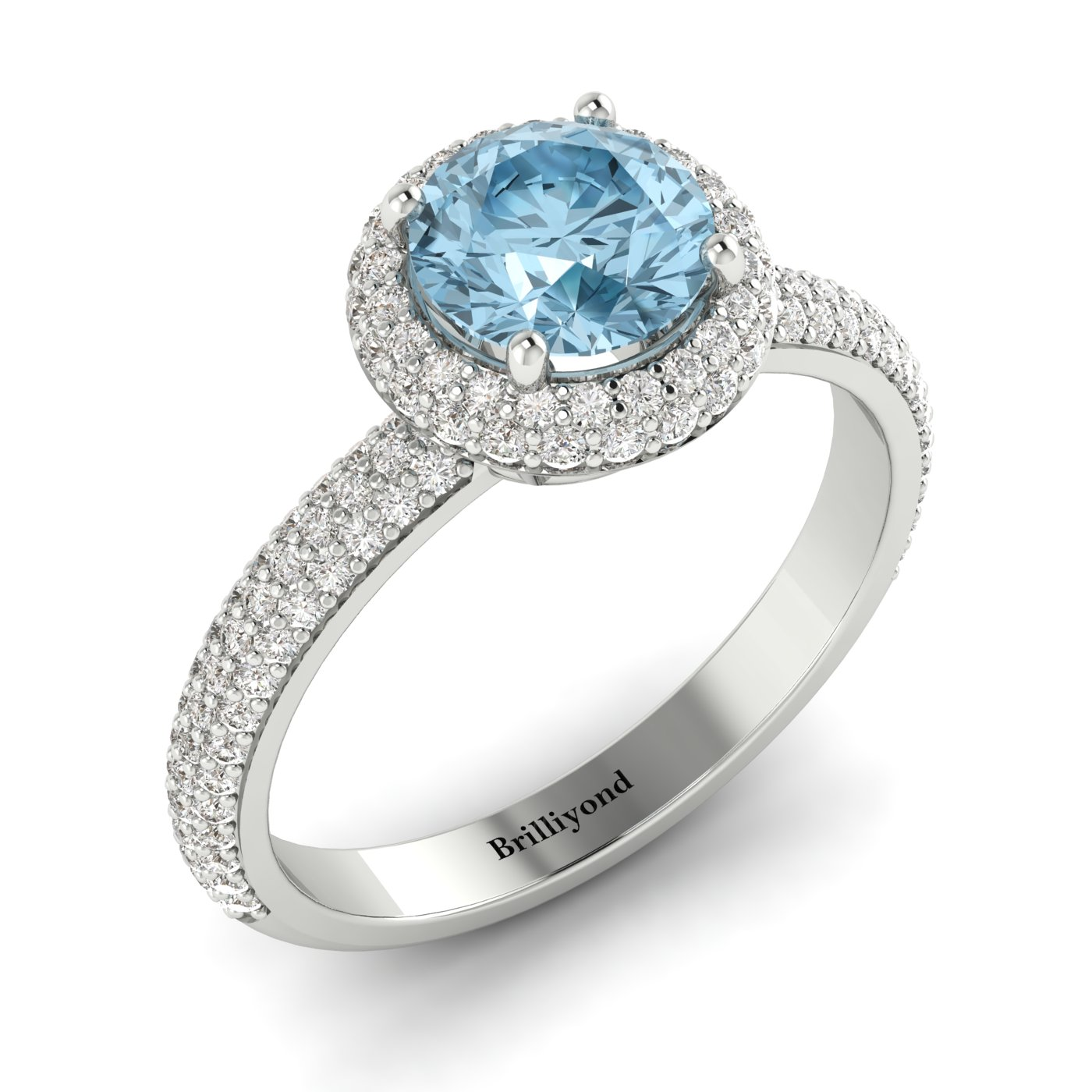 Aquamarine and Diamonds Double Halo Whirlpool Engagement Ring from Brilliyond