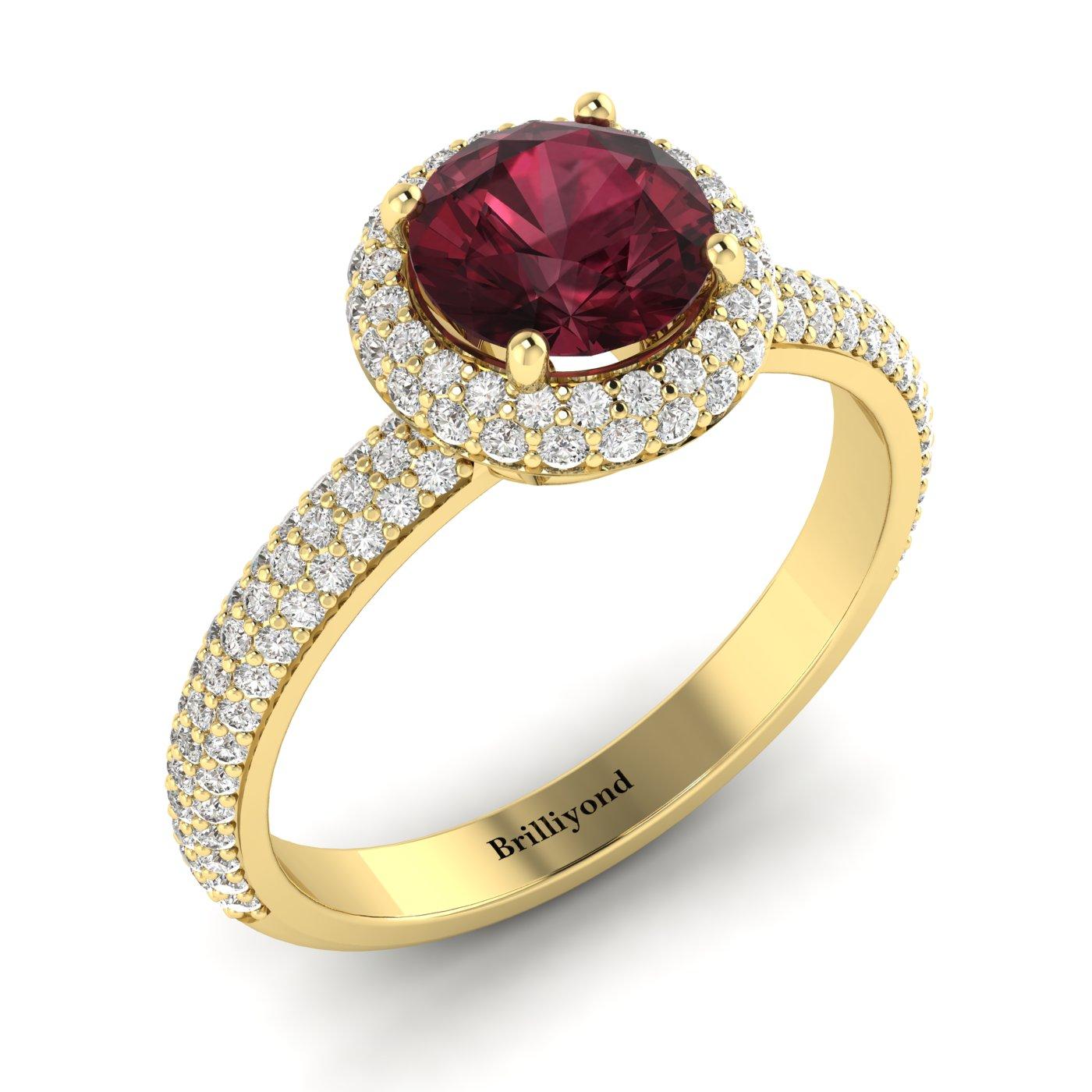 Garnet Ring Yellow Gold Halo Whirlpool_image1