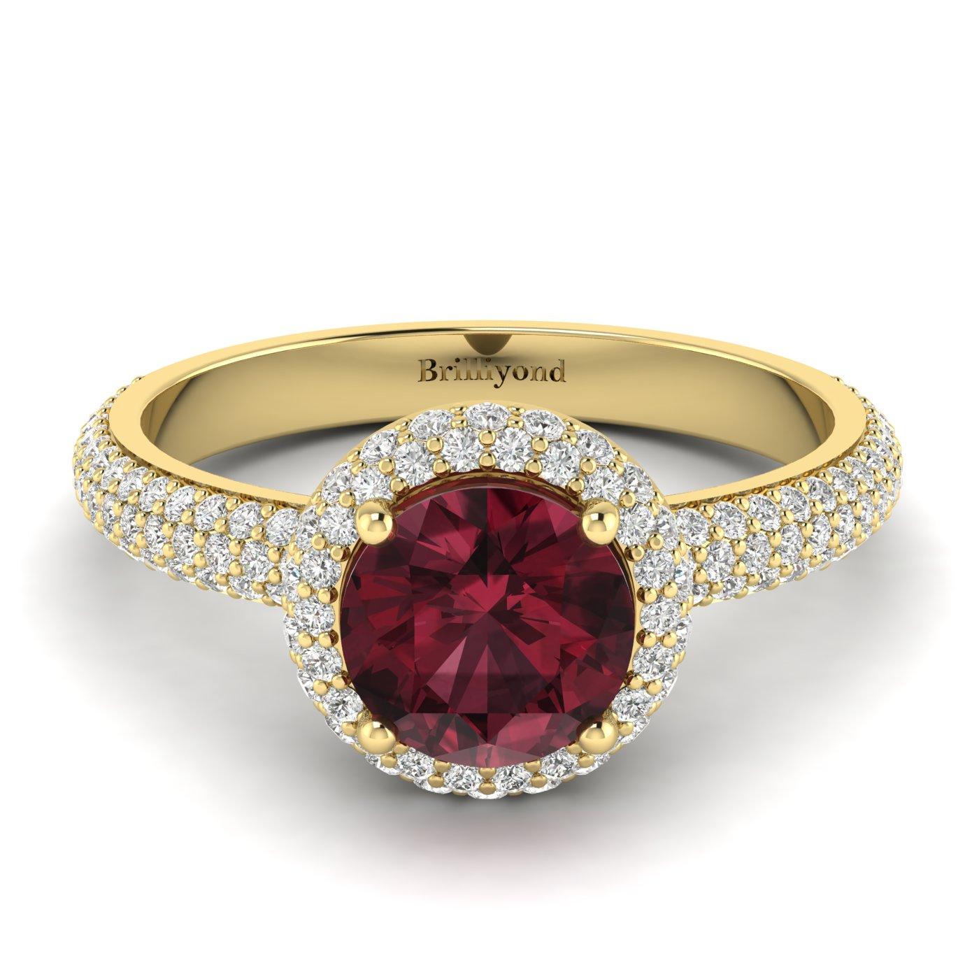 Garnet Ring Yellow Gold Halo Whirlpool_image2