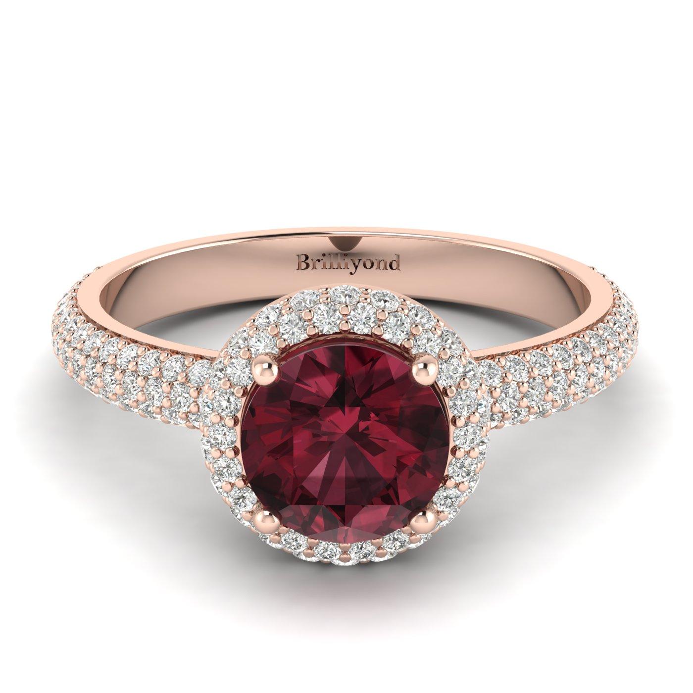 Garnet Rose Gold Halo Engagement Ring Whirlpool_image1