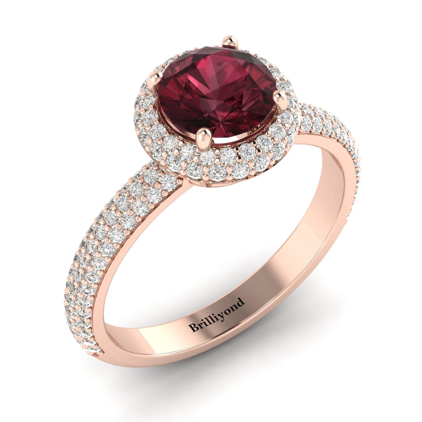 Garnet Rose Gold Halo Engagement Ring Whirlpool_image2