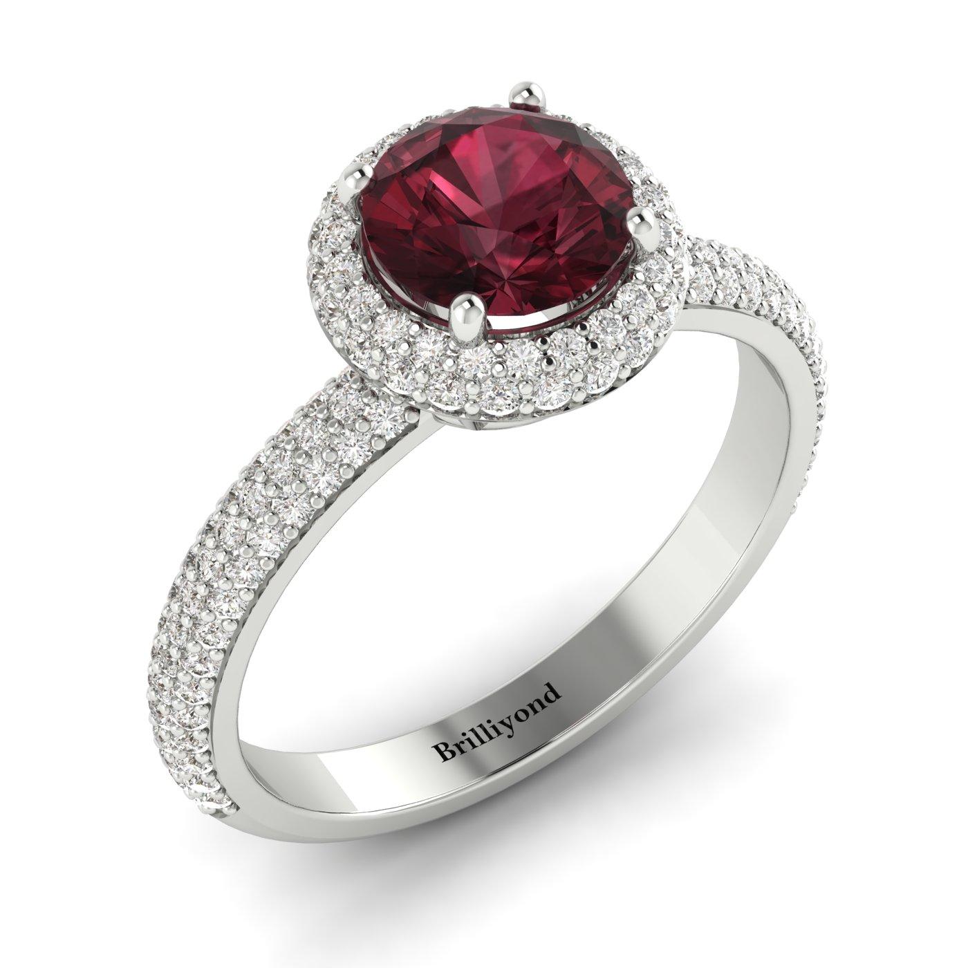 Garnet White Gold Halo Engagement Ring Whirlpool_image1