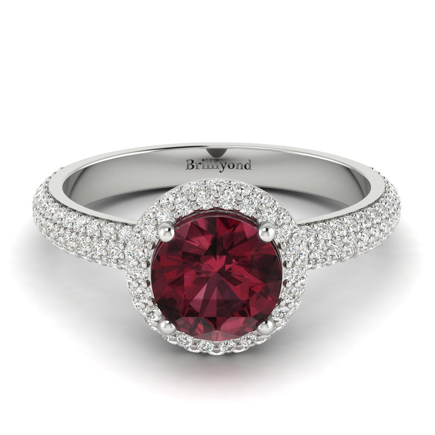 Garnet White Gold Halo Engagement Ring Whirlpool_image2