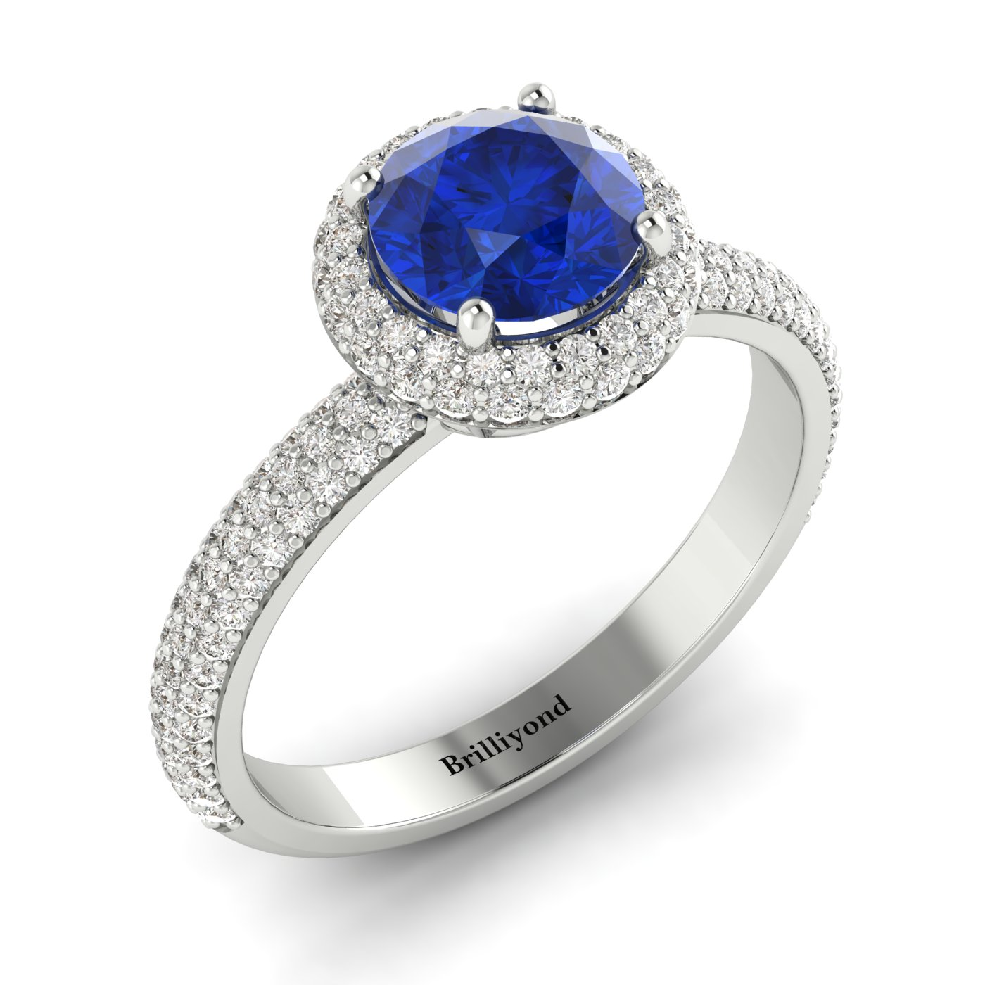 Blue Sapphire White Gold Halo Engagement Ring Whirlpool_image2