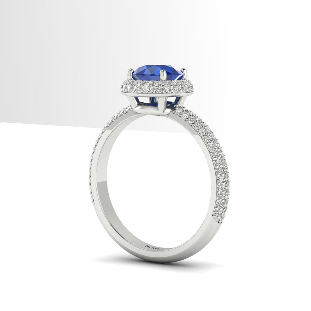 Blue Sapphire White Gold Halo Engagement Ring Whirlpool_image3