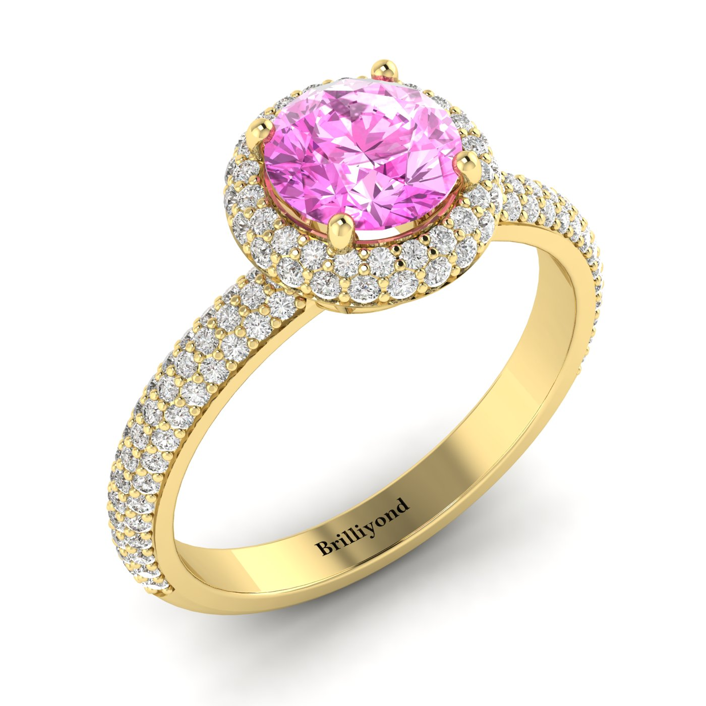 Pink Sapphire Yellow Gold Halo Engagement Ring Whirlpool_image1