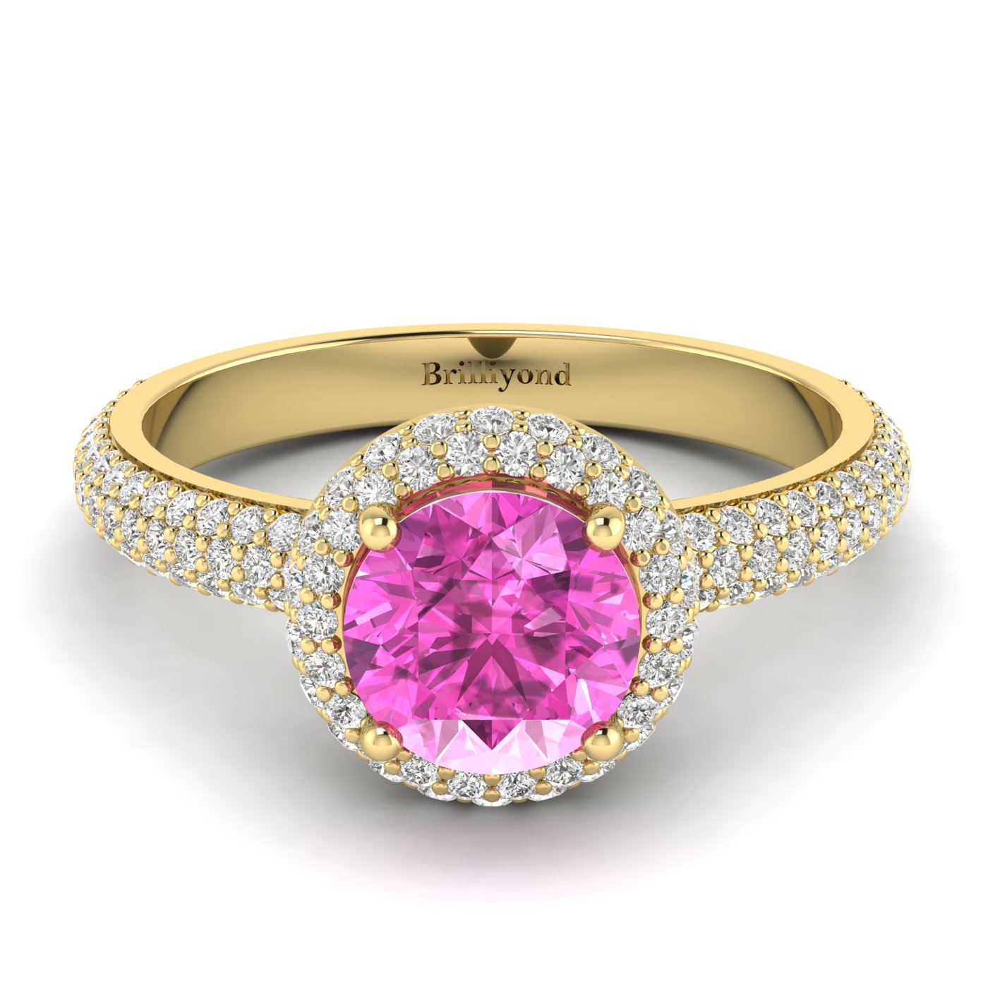 Pink Sapphire Yellow Gold Halo Engagement Ring Whirlpool_image2