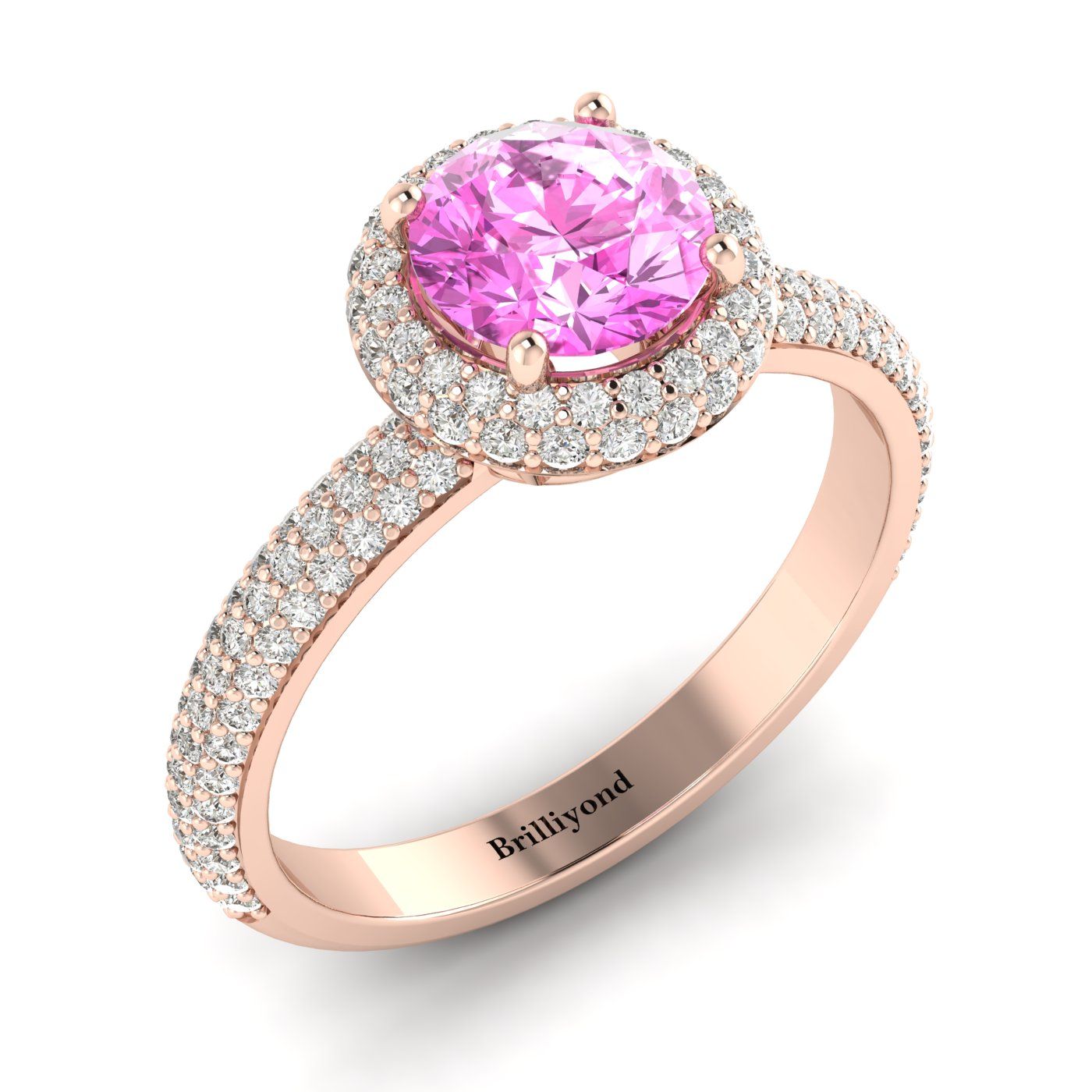 Pink Sapphire Rose Gold Halo Engagement Ring Whirlpool_image2