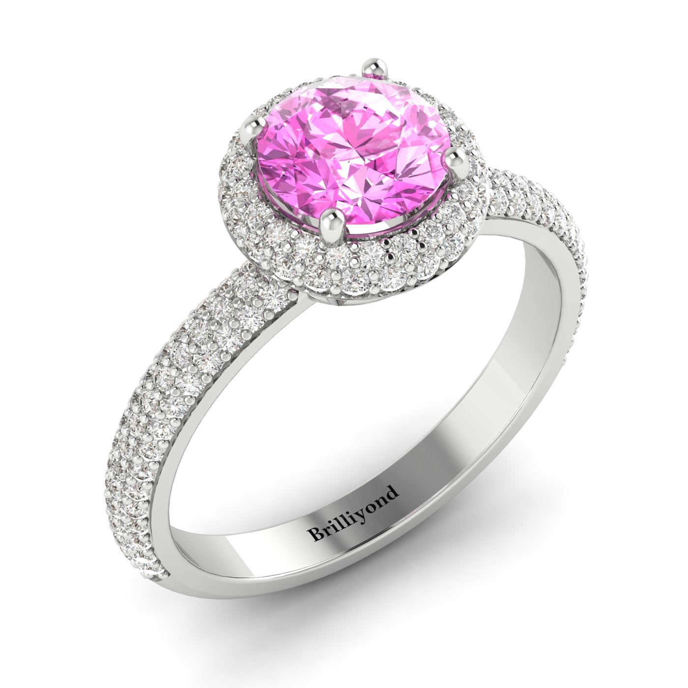 Pink Sapphire White Gold Halo Engagement Ring Whirlpool_image1