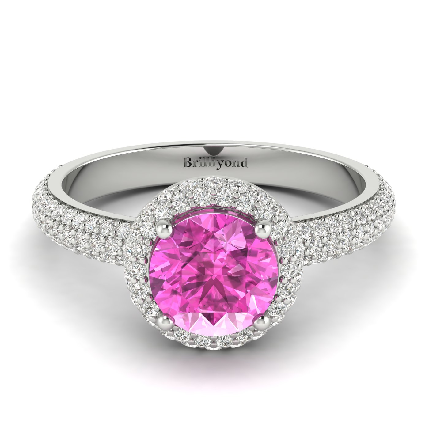 pink sapphire engagement rings with white gold bands