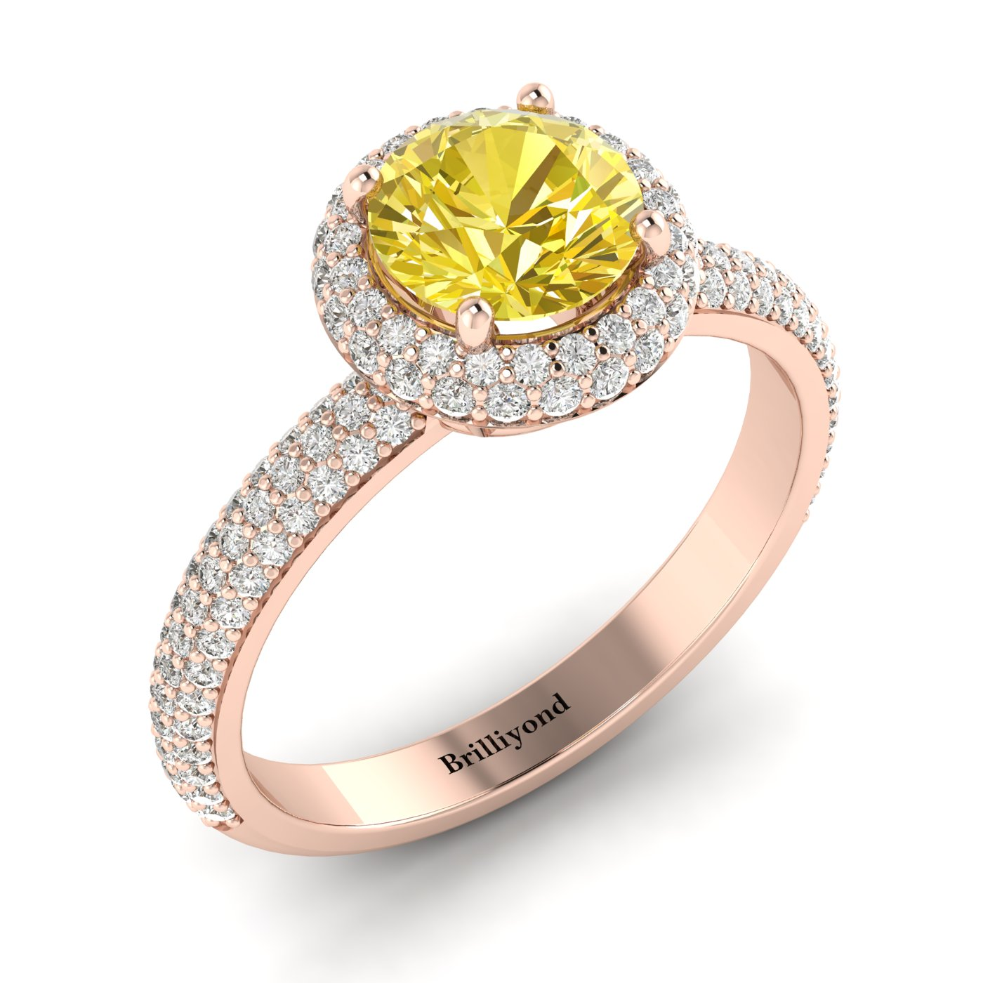 Yellow Sapphire Rose Gold Halo Engagement Ring Whirlpool