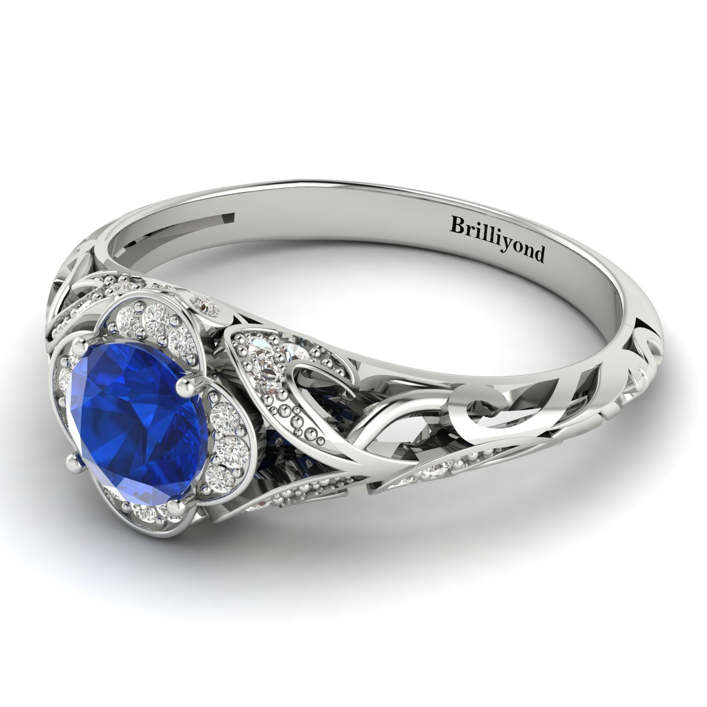 5mm Blue Ceylon Sapphire on 18k White Gold with Accent Diamonds