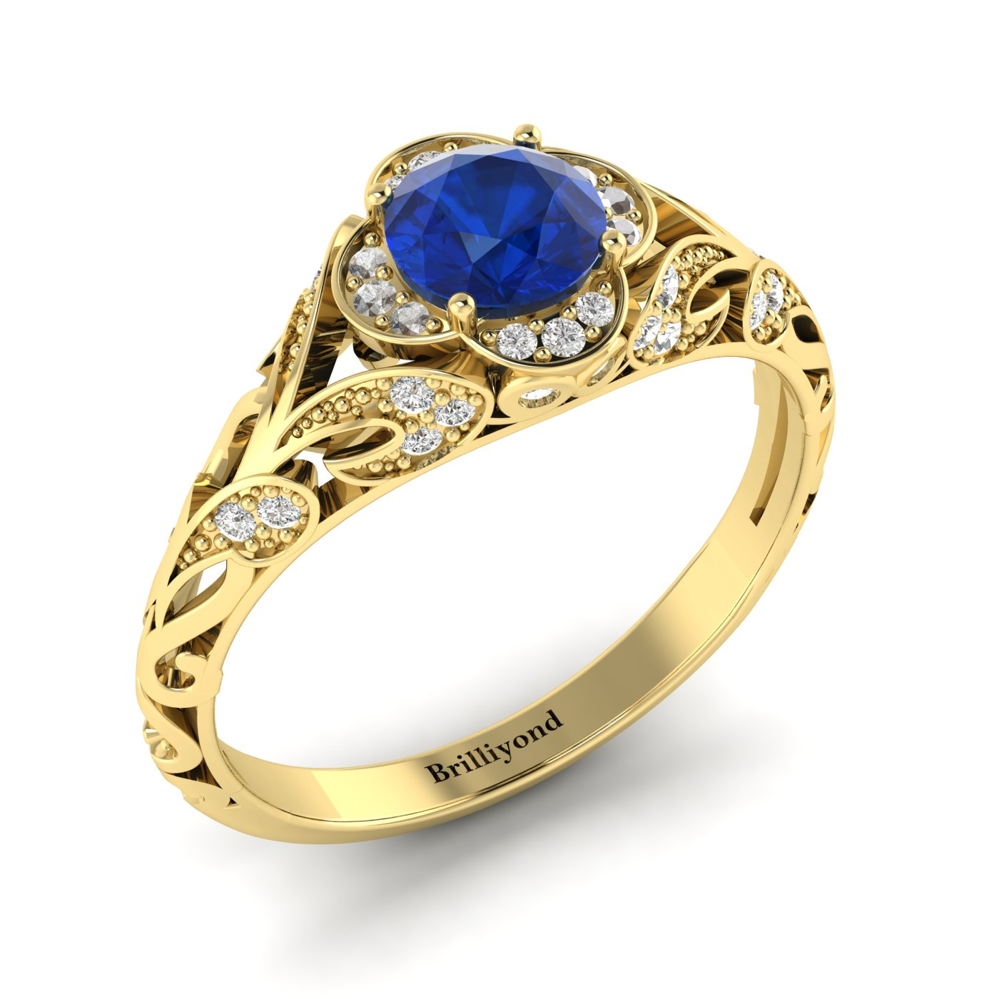 Blue Sapphire Yellow Gold Vintage Engagement Ring Country Road_image2