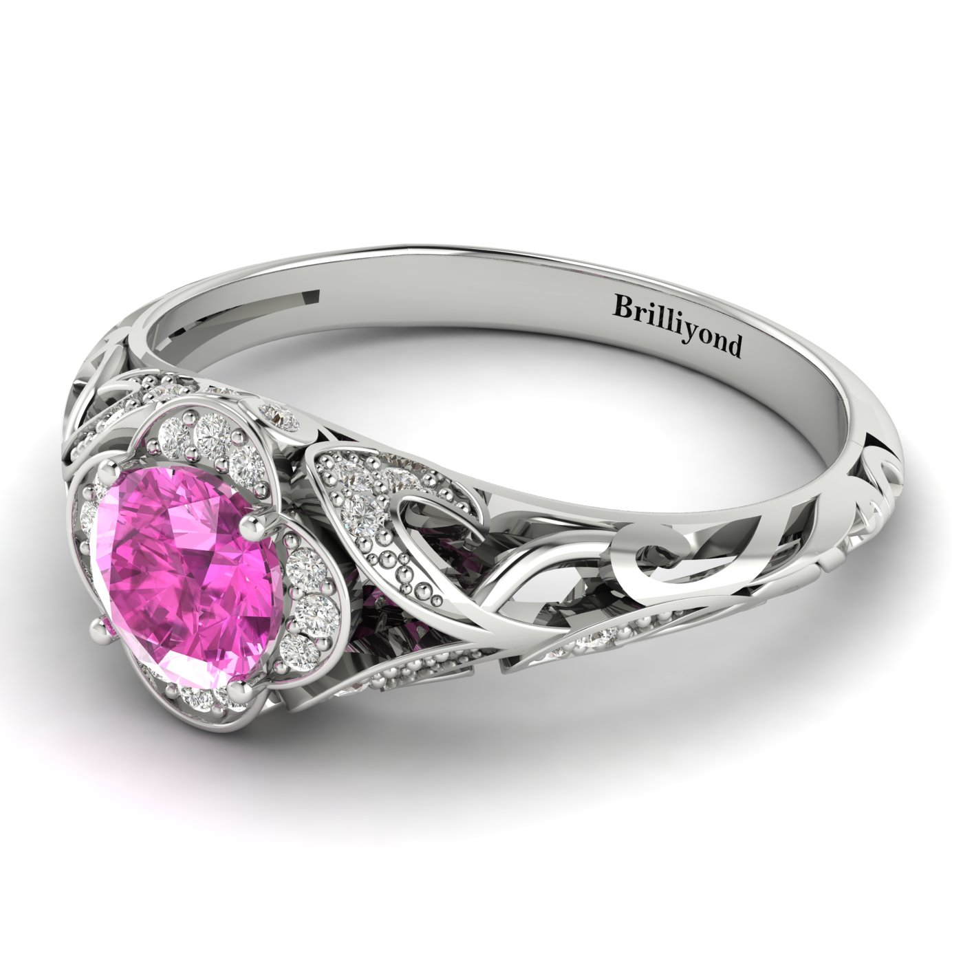 Pink Sapphire White Gold Vintage Engagement Ring Country Road_image2