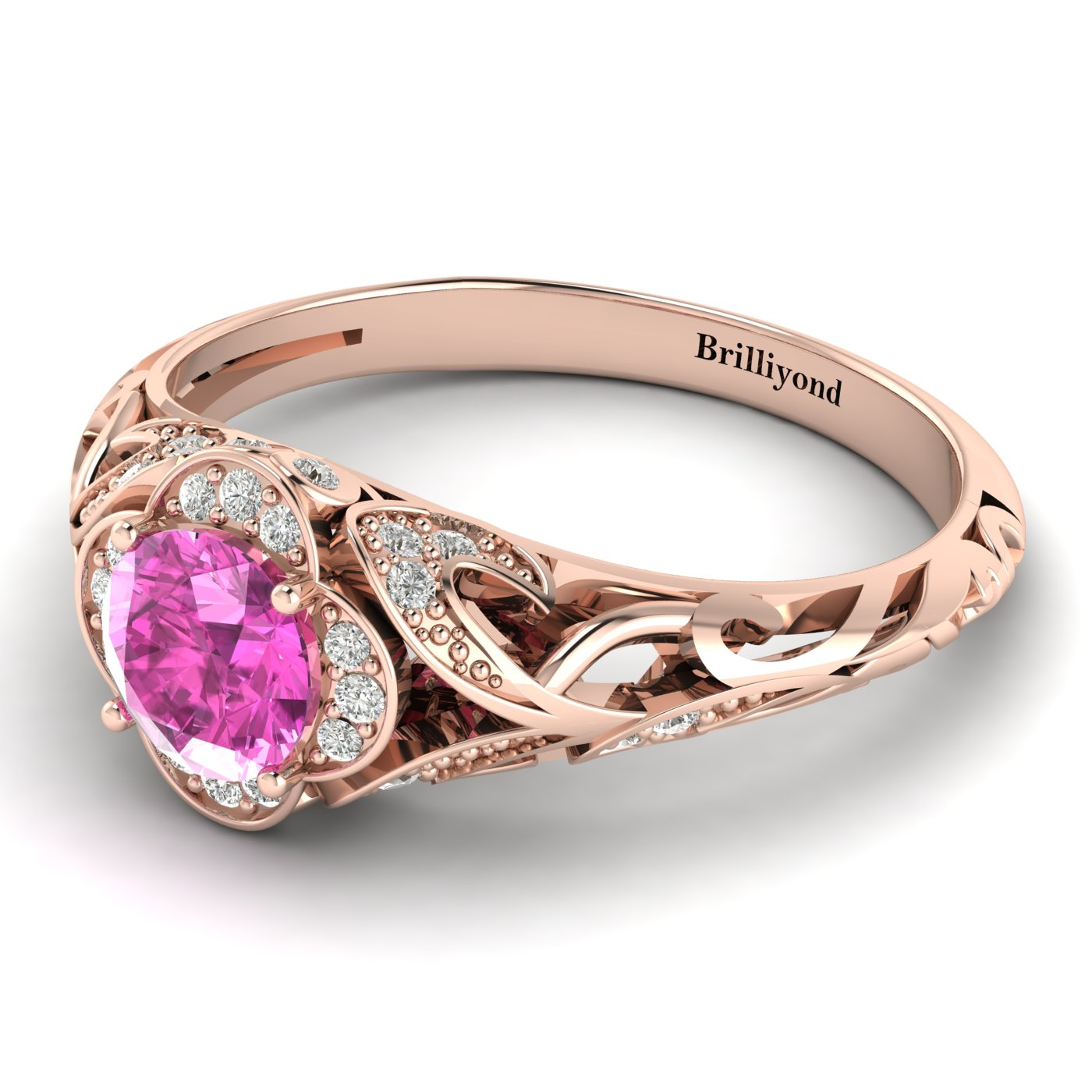 Pink Sapphire Rose Gold Vintage Engagement Ring Country Road_image1
