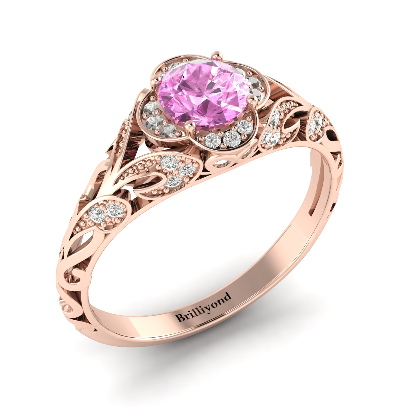 Pink Sapphire Rose Gold Vintage Engagement Ring Country Road_image2