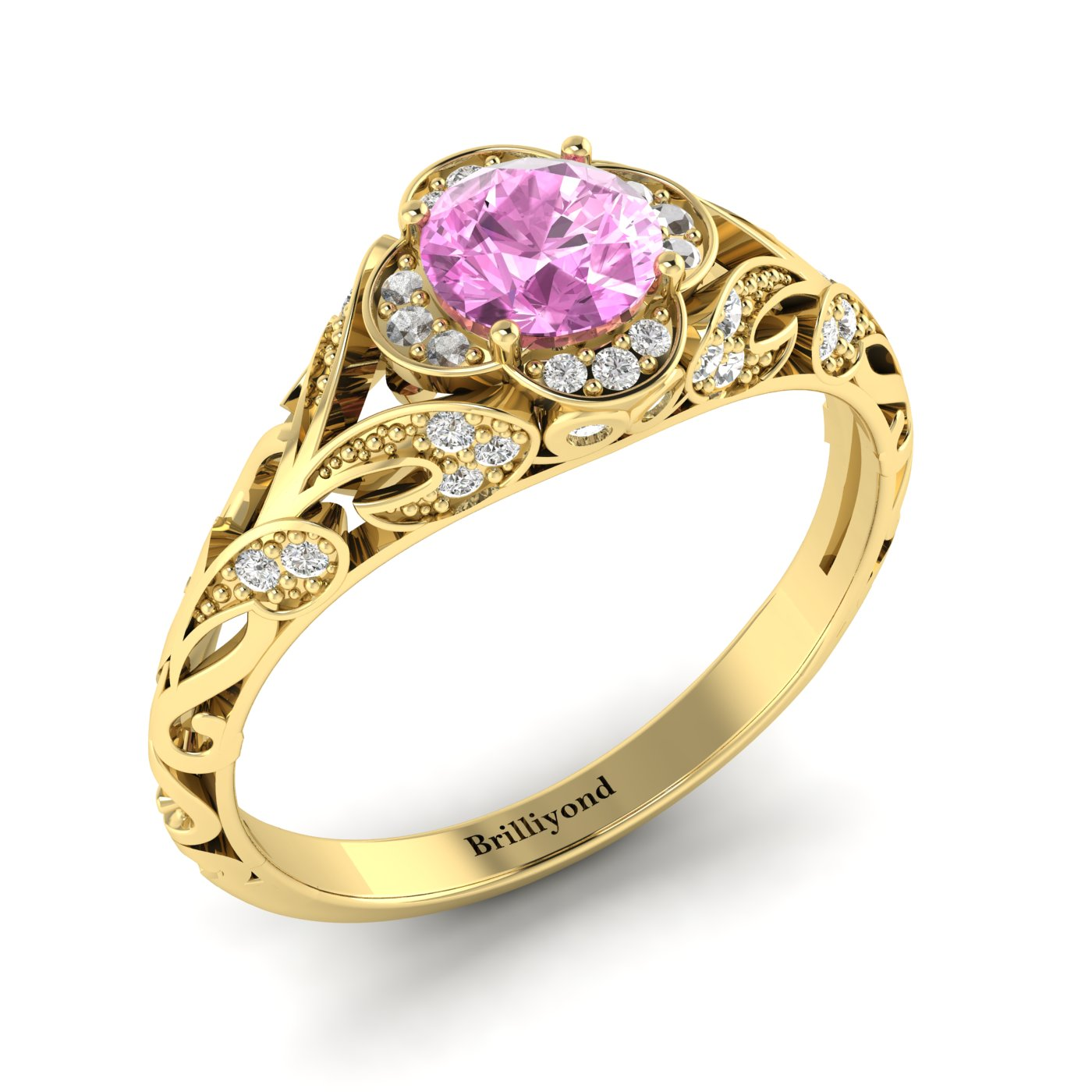 Pink Sapphire Yellow Gold Vintage Engagement Ring Country Road_image1