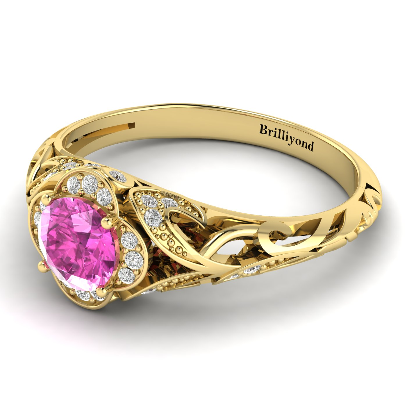 Pink Sapphire Yellow Gold Vintage Engagement Ring Country Road_image2