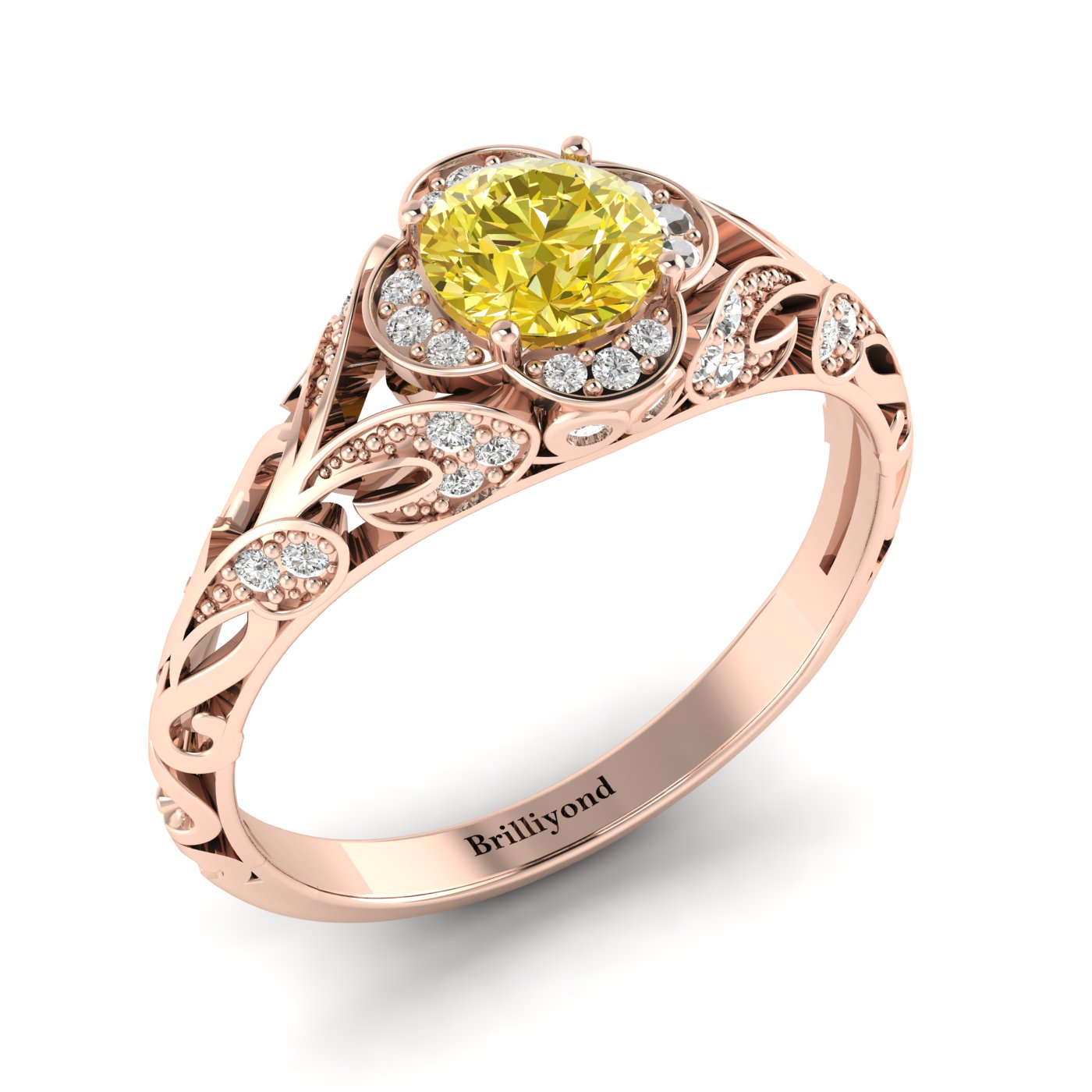 Yellow Sapphire Rose Gold Vintage Engagement Ring Country Road_image1