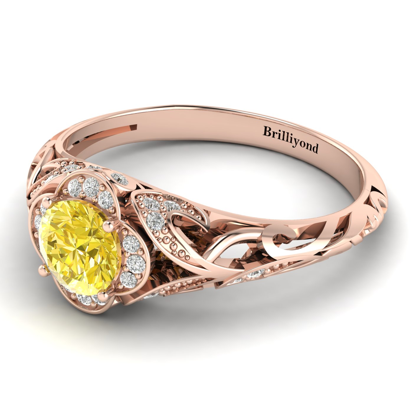 Yellow Sapphire Rose Gold Vintage Engagement Ring Country Road_image2