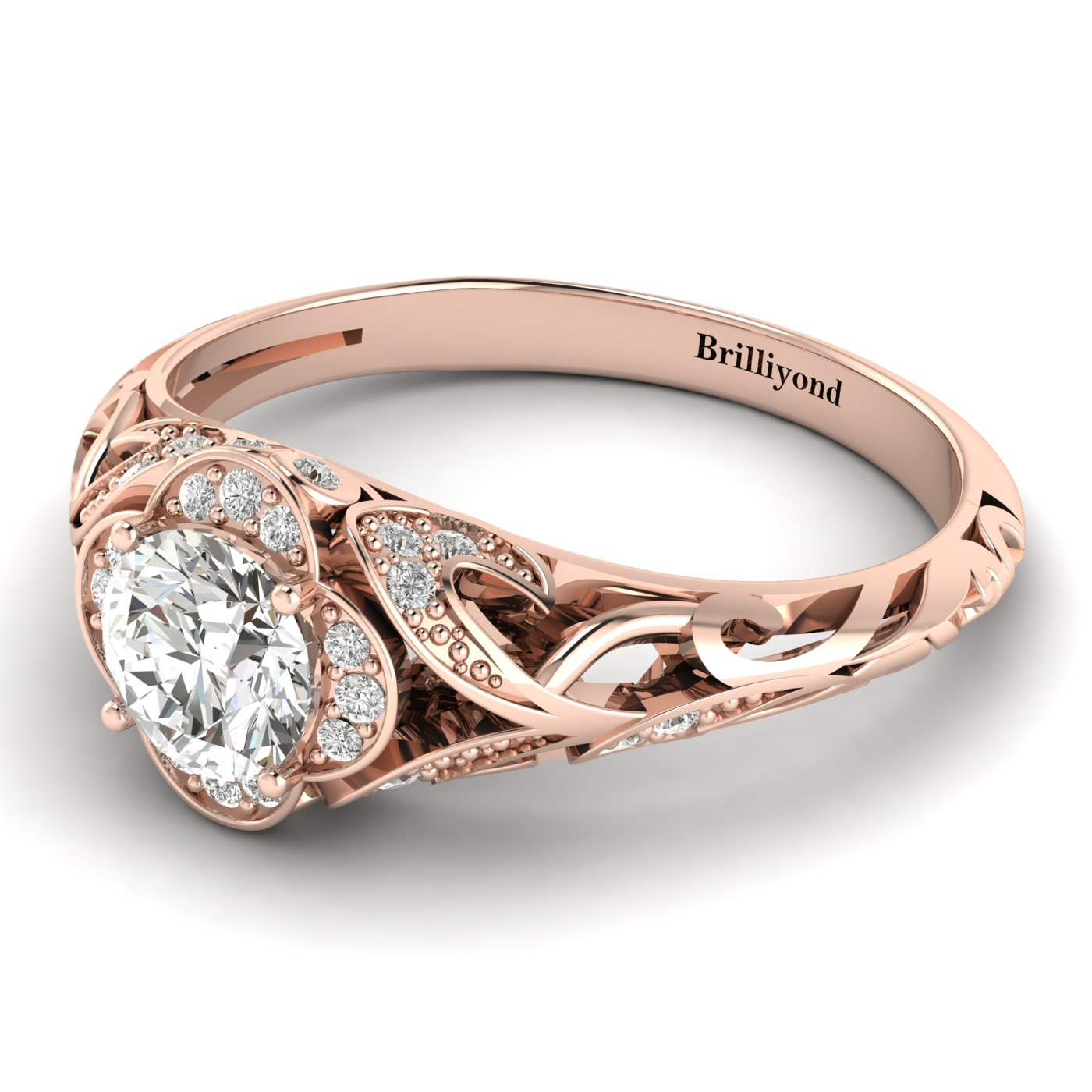 White Sapphire Rose Gold Vintage Engagement Ring Country Road_image1