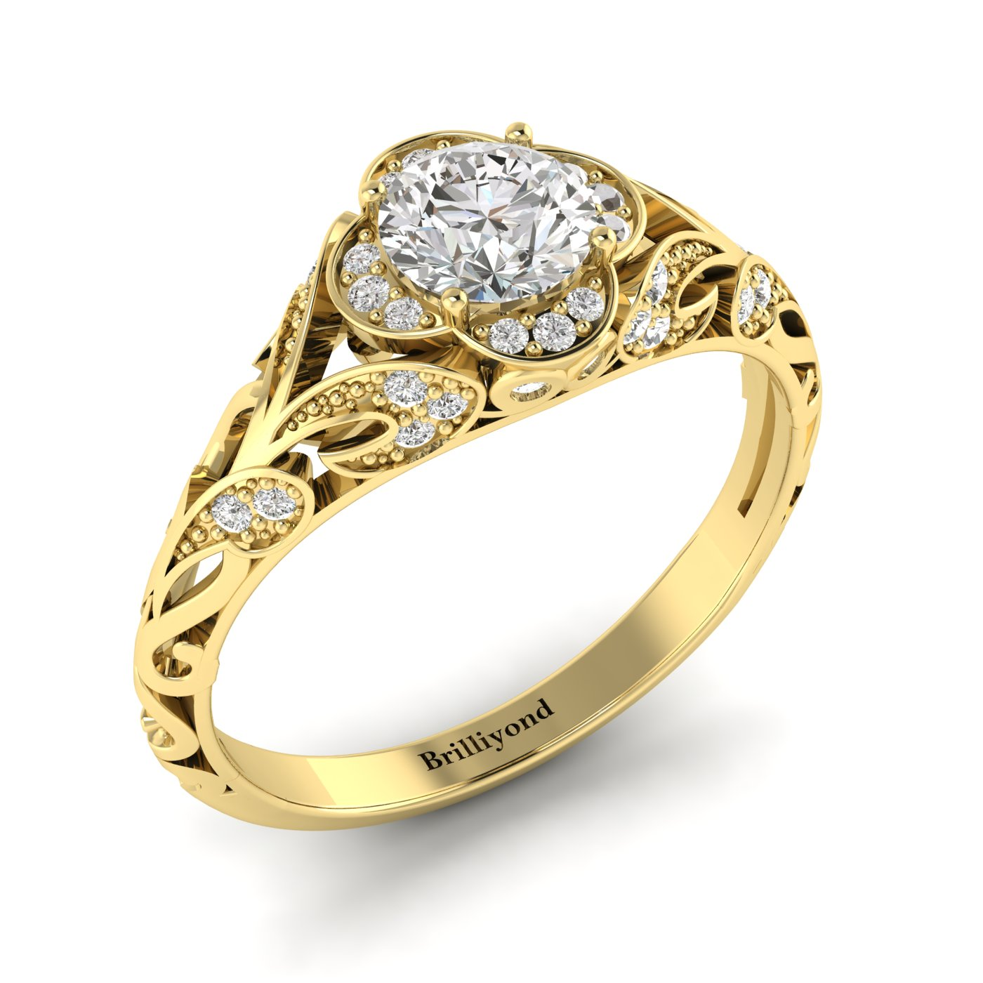 White Sapphire Yellow Gold Vintage Engagement Ring Country Road_image1