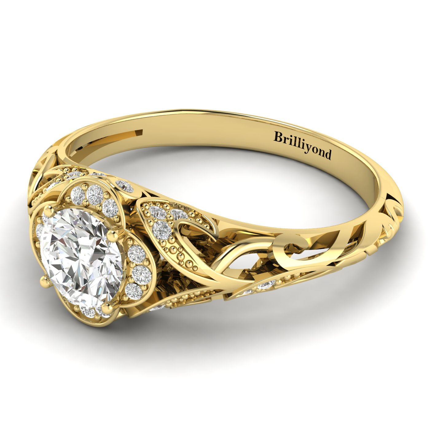 White Sapphire Yellow Gold Vintage Engagement Ring Country Road_image2