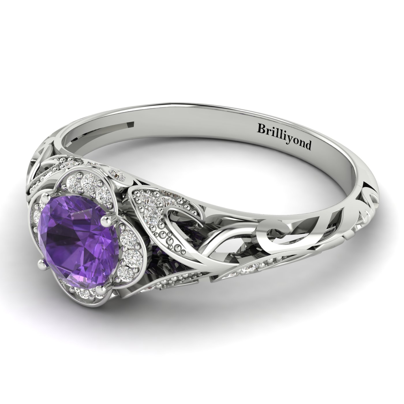 Amethyst White Gold Vintage Engagement Ring Country Road_image1