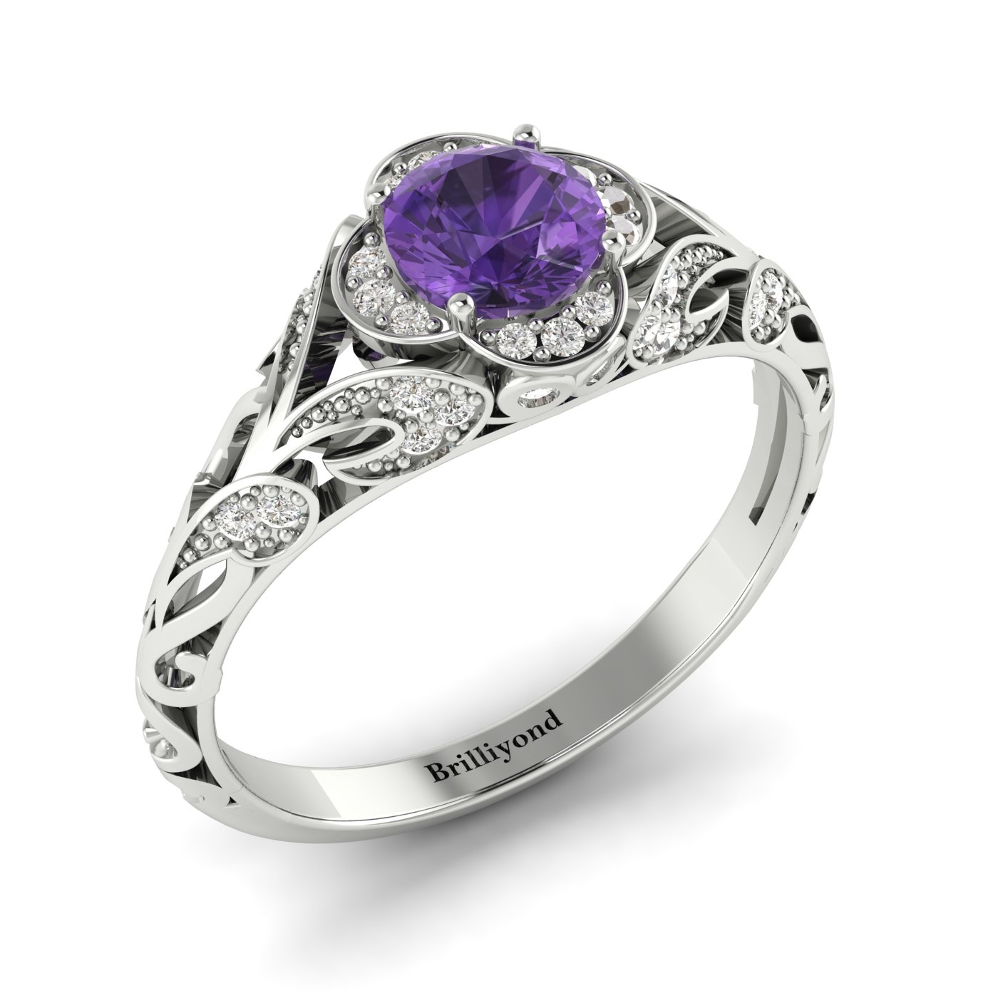 Amethyst White Gold Vintage Engagement Ring Country Road_image2