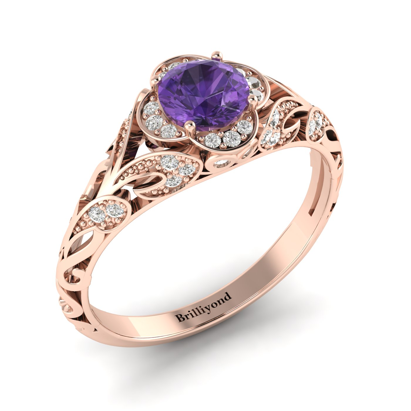 Amethyst Rose Gold Vintage Engagement Ring Country Road_image1