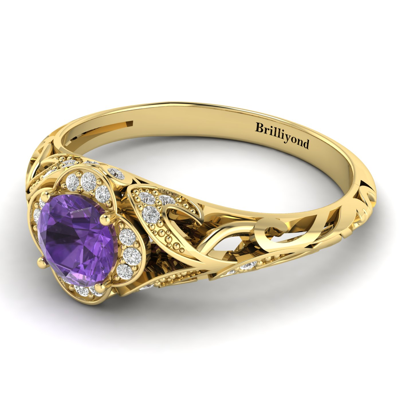 Amethyst Yellow Gold Vintage Engagement Ring Country Road_image1