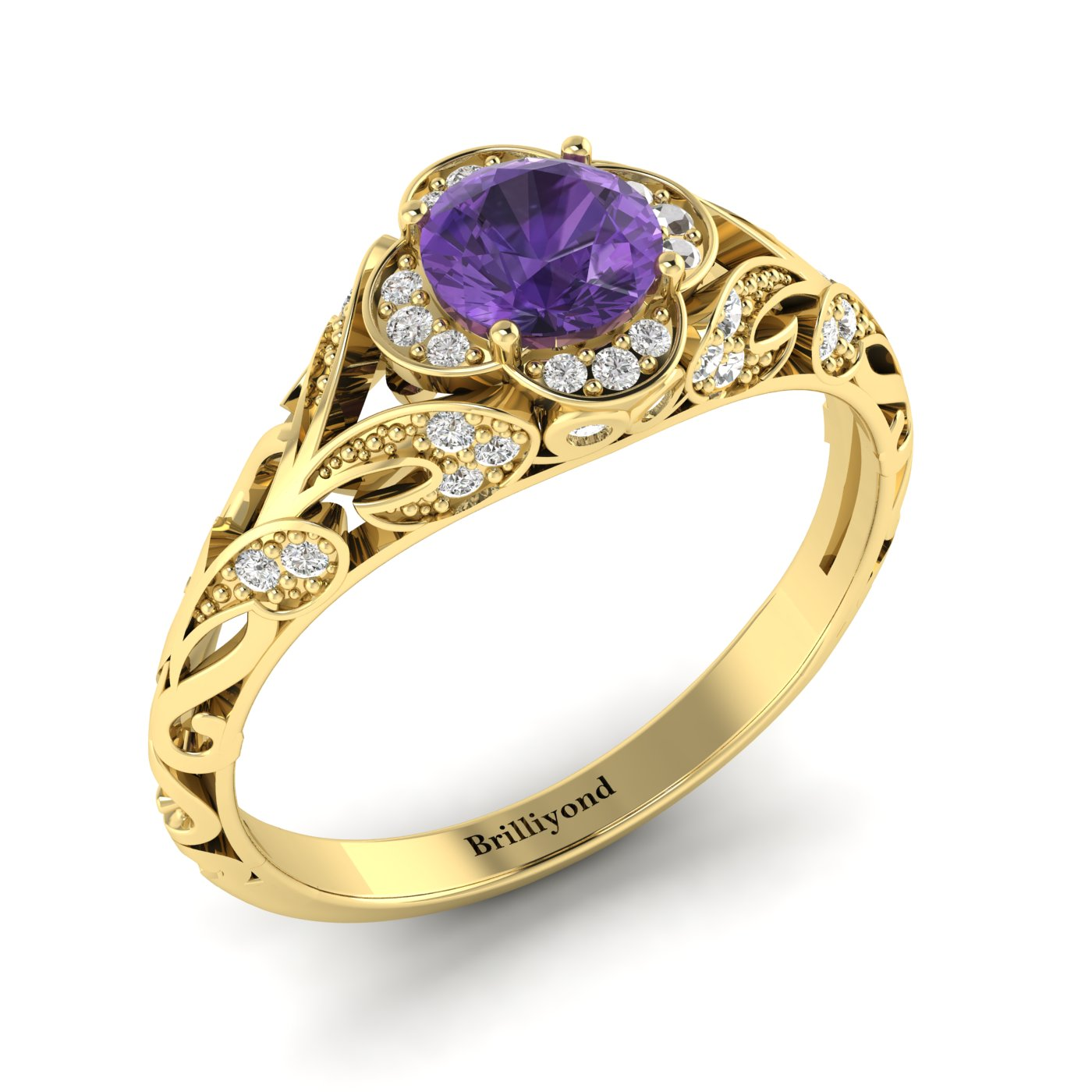 Amethyst Yellow Gold Vintage Engagement Ring Country Road_image2