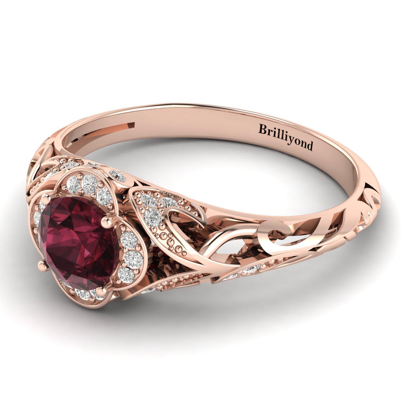 Garnet Rose Gold Vintage Engagement Ring Country Road_image1