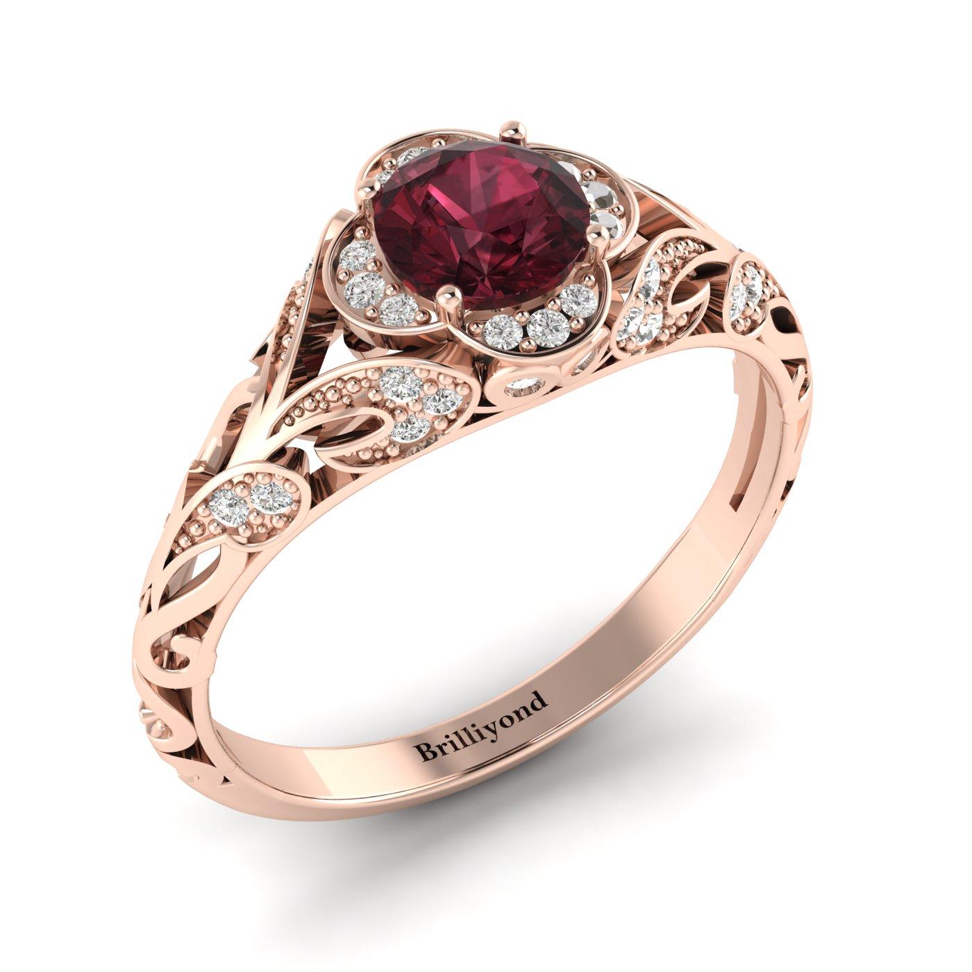Garnet Rose Gold Vintage Engagement Ring Country Road_image2